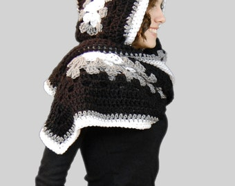 Black and White Hooded Scarf Wrap, Crochet Wrap