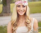 Vintage lace and rose  Stretchy lace Head band by  CristaBela's Boutique