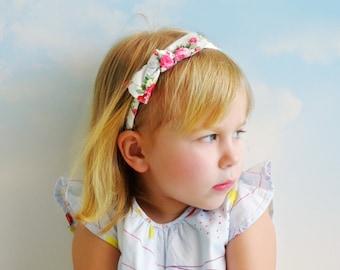 Baby Girl Vintage Style Headband, Bow headbands, Floral shabby chic headband for little girl, Toddler headband, FREE SHIPPING