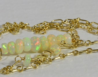 Ethiopian Welo Opal Necklace 14K Gold Filled Wire Wrapped Necklace Opal Necklace Birthstone Necklace Bar