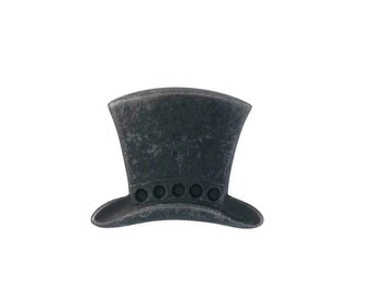Black Brass Stamping Steampunk Top Hat Jewelry Making Assemblage Altered Art  Made in the USA Dr Brassy Steampunk
