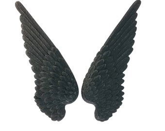 Black Brass Large Bird Wings Stamping 90 mm x 34 mm Qty 1 Pair One Made in the USA Archangel or Demon Wings