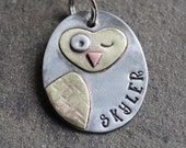 Dog ID Tag- large metal pet id tag- Winking Owl