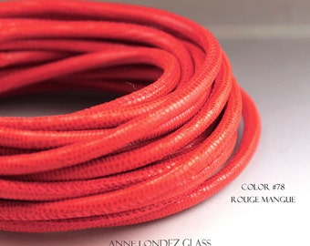 8 in (20 cm) 4mm Coral Red leather cord orange leahter cord lizard print leather Nappa leather cord 4 mm round stringing supplies