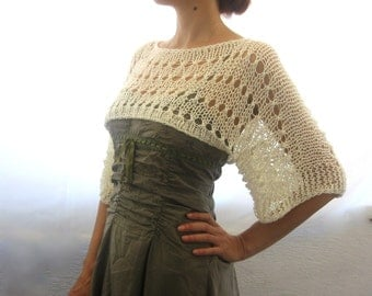 Cotton Summer Cropped   Sweater Shrug, hand knitted, ecofriendly