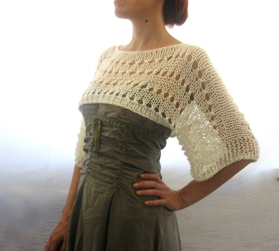 Summer Shrug Knitting Pattern : Cotton Summer Cropped Sweater Shrug hand knitted