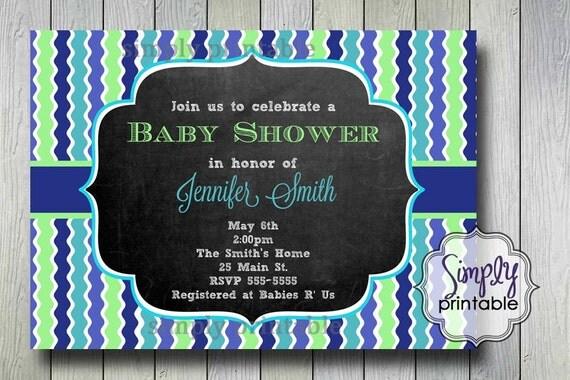 Green Blue Baby Shower Blackboard Invite
