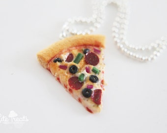 Pizza Necklace - Food Jewelry - Polymer Clay Food - Cute Necklace