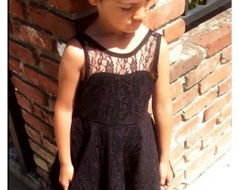 Black Lace Sweetheart Dress - 5T/6T - Christmas - Holiday - Special Occasion - Flower Girl