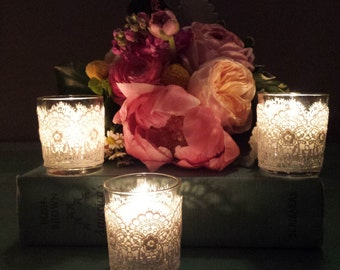Lace Wrapped Votives with vintage lace trims - Set of 3