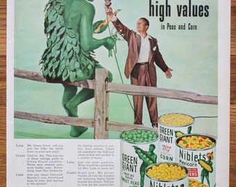 Vintage Green Giant Advertisement Life Magazine October 27, 1952