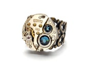 Steampunk Ring MEN MONTANA BLUE Bulova Steam Punk Steampunk Vintage Watch Ring Antique Brass Ring Steampunk Jewelry By Victorian Curiosities