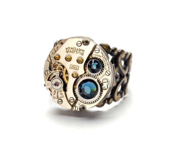 Steampunk Ring MEN MONTANA BLUE Bulova Steam Punk Steampunk Vintage Watch Ring Antique Brass Ring Steampunk Jewelry By Victorian Curiosities