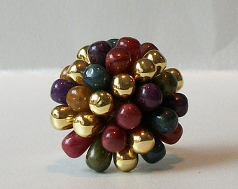 Teal Burgundy Gold Adjustable Ring, Upcycled Jewelry, Ring