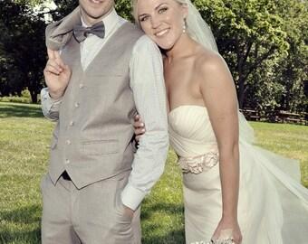 Champagne Wedding Sash, Bridal Sash, Floral Bridal Sash, Bridal Belt -Champagne Flowers