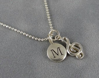 Sterling Treble Clef Necklace with Initial, G-Clef Music Note Charm, Music Symbol Charm, Personalized