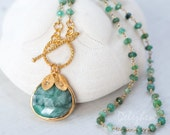 Raw Emerald Necklace - May Birthstone Necklace - Personalized Necklace - Wire Wrapped Necklace - Gold Toggle