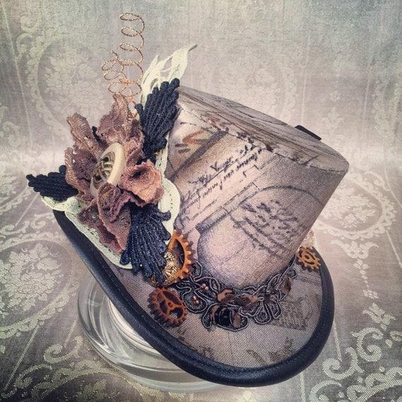 """3"""" top hat """" - стимпанк, Тесла, заводные, Викторианский, путешественник во времени, безумный Шляпник, чай, авантюрист, исследователь, фестиваль шляпы, карнавальные шляпы"""