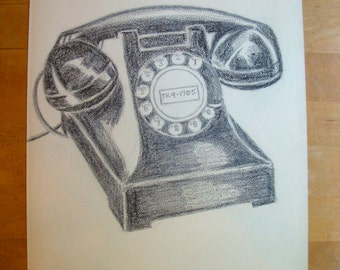 Vintage Telephone Sketch, Mid-Century Modern Charcoal Drawing