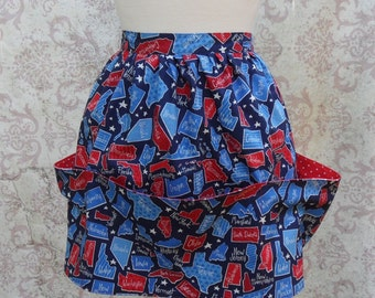Fifty States Half Apron in Red, White, Blue Cotton // Polka Dots, Utility Pockets