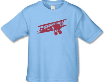 4th Birthday Shirt - Vintage Feel Bi-Plane T-Shirt - Vintage Plane Theme Party - Personalized Birthday Shirt for Boys or Girlls