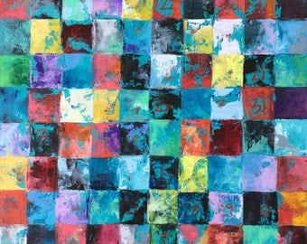 """Plans Three: Original oil painting on canvas 18""""x24"""" abstract geometric modern art decor grid pattern colorful squares"""