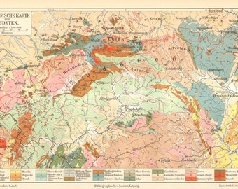 1903 Original Antique Geological Map of the Sudetenland