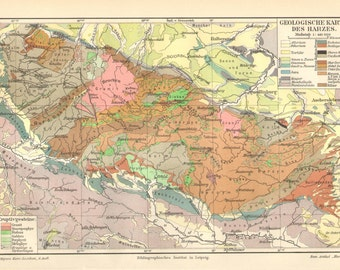 1903 Original Antique Geological Map of of the Harz Mountains, Germany