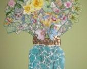 Mosaic of a Mason Jar of Flowers by Jeri Stout Mosaics