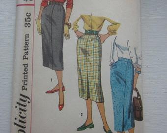 Simplicity Vintage Skirt Pattern 2200 Waist 28, Narrow Slender Skirt w/ Pleat, takes 1 yd of fabric, Factory Folded
