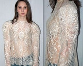 Edge of 17 ... 80s lace blouse / sheer button back / puff sleeve ruched / ivory cream rhinestone pearl / boho Victorian prairie .. S M