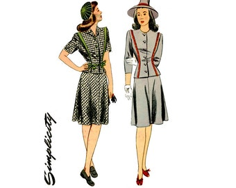 1940s Jacket and Skirt Pattern Uncut Bust 30 Simplicity 4792 Two Piece Dress Flared Skirt Princess Seam Jacket Womens Vintage Sewing Pattern