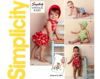 1940s Toddlers Sunsuit Pattern Simplicity 1600 Reissue Baby Romper Ruffled Panties Bikini Bathing Bonnet Childrens Vintage Sewing Patterns