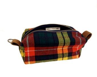 Medium Toiletry Bag - Vintage Scottish Buchanan Tartan with Leather