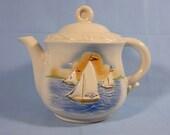 Vintage Porcelier Teapot - Nautical Sailboat Design - Vitreous Hand decorated China - 1950s