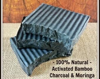 Activated Bamboo Charcoal, Organic Moringa & Shea Butter Soap Bars. 100% Natural. Skin Detox. Handmade, Vegan, Gluten Free. Unscented.