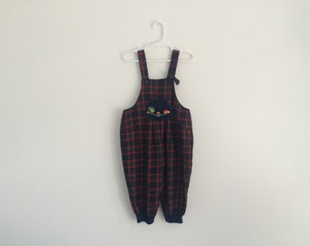 1980s girls plaid jumper / romper / overalls embroidered with choo choo train
