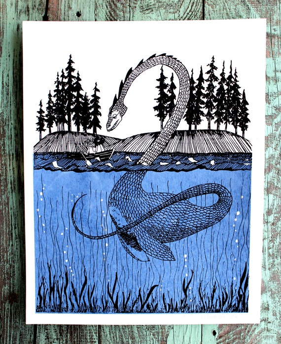 Loch Ness Monster Encounter Screen Print