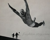 Black and White Paper Collage, Wrestling Art, One of a Kind Vintage Paper Art, Surreal Art, The Wrestler