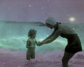 Summer Art, Mother and Child, Ocean Art Print, Purple and Aqua, Stars, Vintage Photography, Mixed Media Collage