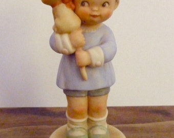Vintage Girl with Cat - Porcelain Figurine -Enesco - Mabel Lucie Atwell - Collectible Figurine