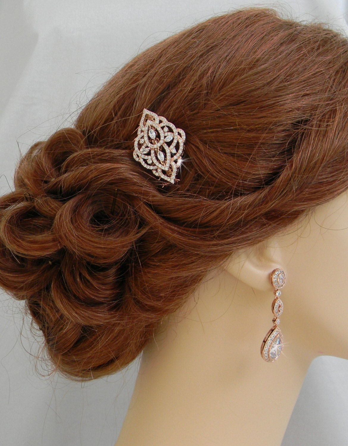 Rose Gold Hair Comb Rose Gold Bridal Hair Clip Yellow Gold