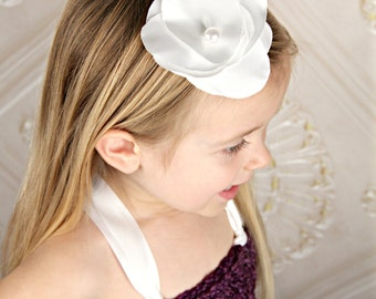 White Satin Flower Petals Handmade Hair Accessory with Pearl Bead Accent for Weddings, Special Occasions, Flower Girls