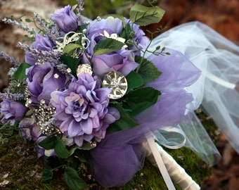 Brooch Bouquet Lavender Purple Woodland wedding bouquet