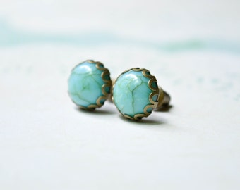 Turquoise Earrings - Faux Turquoise Cabochons - Stud Earrings - Boho Chic Earrings - Turquoise Jewelry