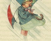 Old Fashioned Girl With Umbrella (Looks Like Mortan Salt Girl) Raining - DIGITAL Art - Scrapbooking, Card Making & Crafts - INSTANT DOWNLOAD