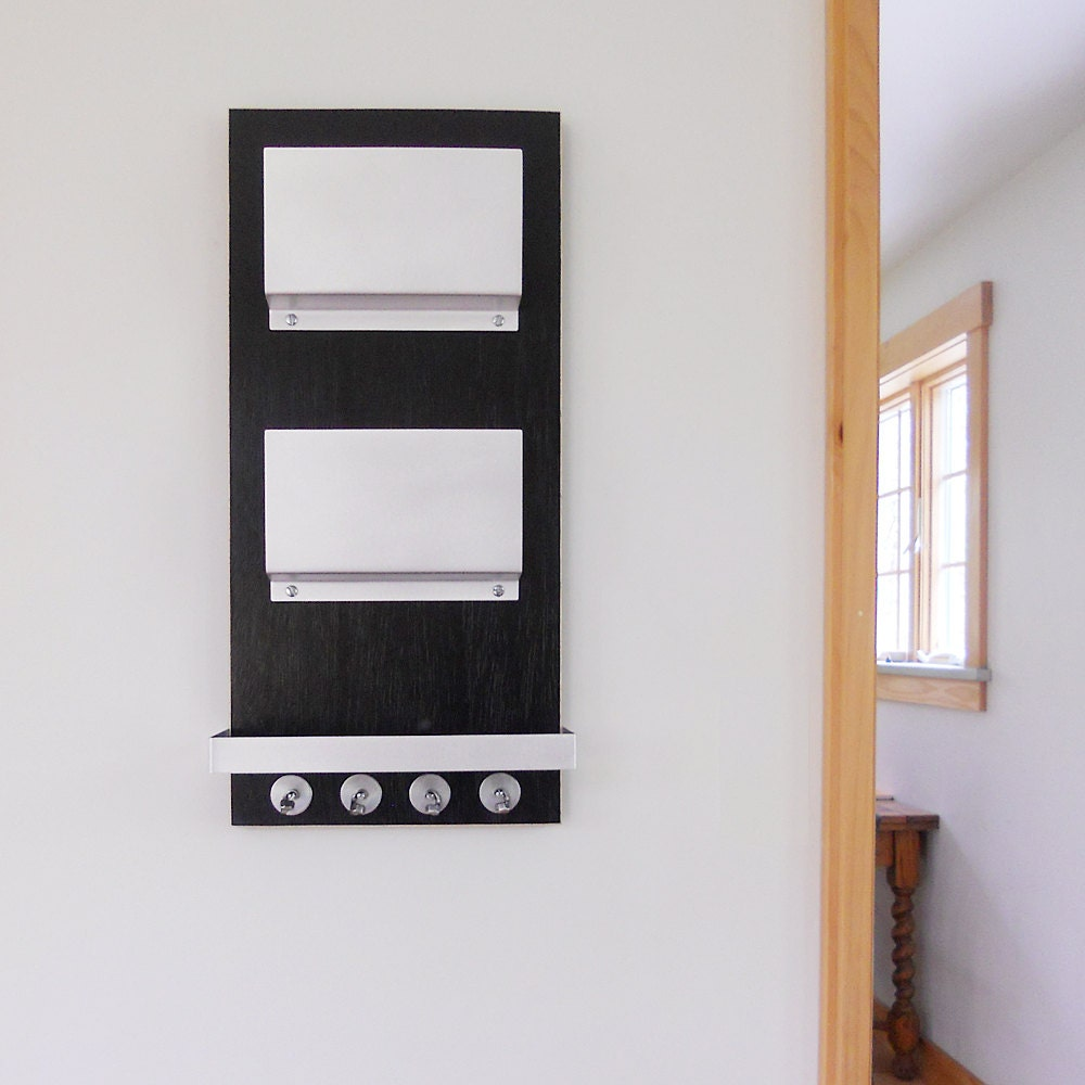 modern mail organizer black wall mount with key rack and. Black Bedroom Furniture Sets. Home Design Ideas