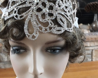 Art deco wedding inspired rhinestone wedding headband tiara headpiece 1920s flapper