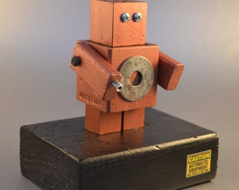 Robot Art, Desktop Sculpture, Handmade Found Object Assemblage