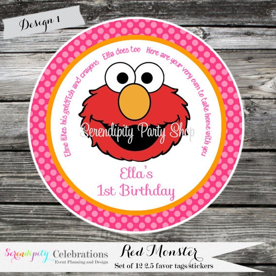 Set of 12 Personalized Favor Tags- Monster -Red Monster- Thank You Tag -Gift Tag -Baby Shower -Birthday-Sticker -Red -Pink -Orange -Chevron